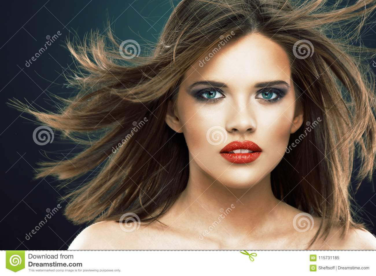 Young Beauty Model With Blowing Hair Stock Image Image Of