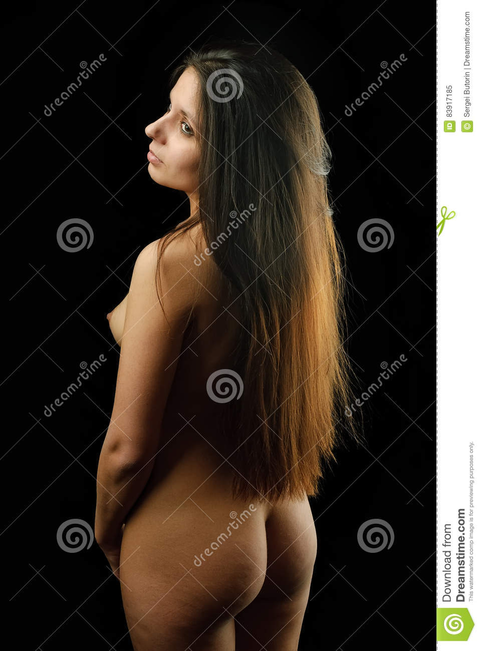 Beautiful back of naked woman. nude girl. young lady over black background