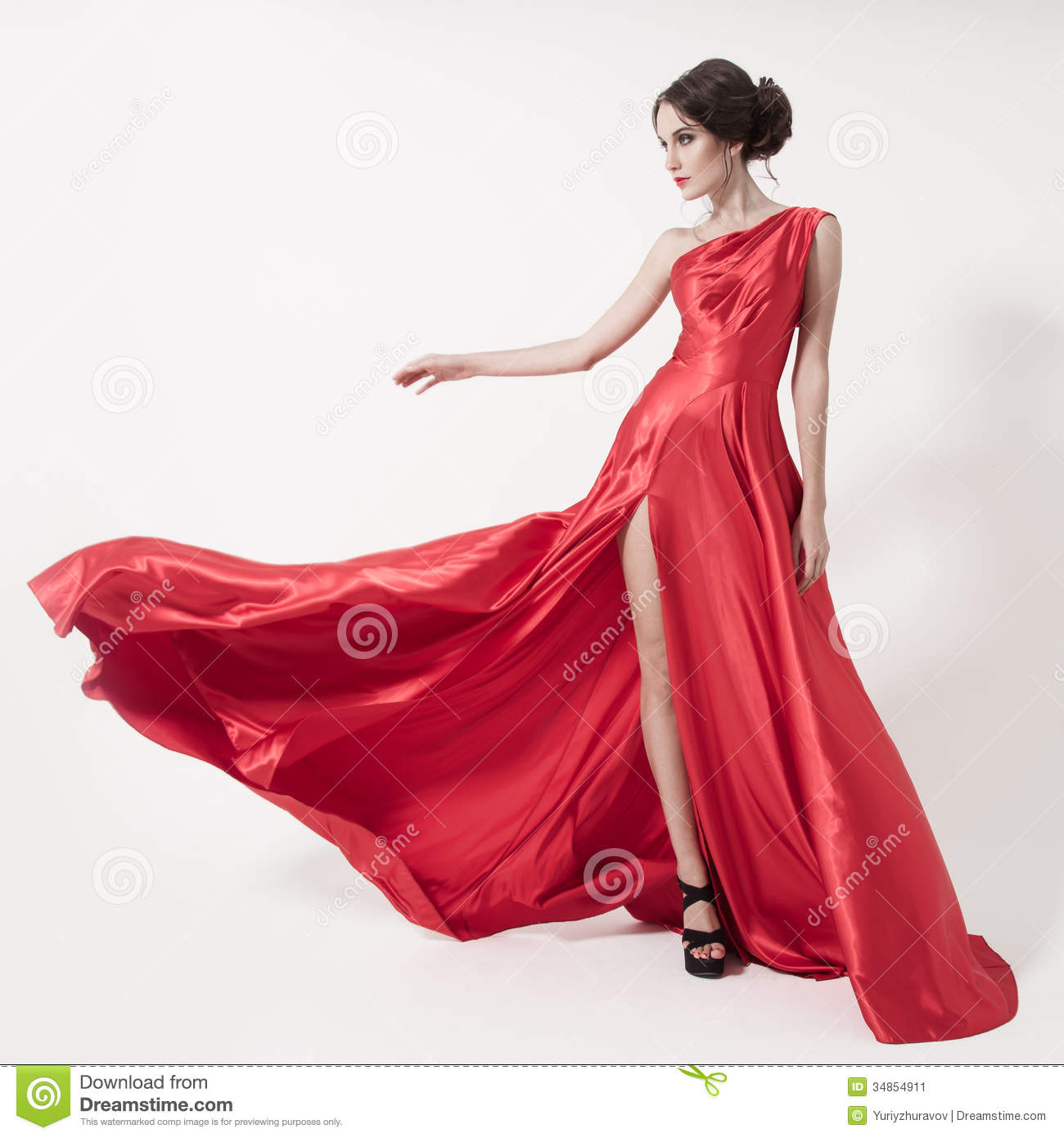 Young Woman In A Red Dress Stock Photo - Image: 42565402