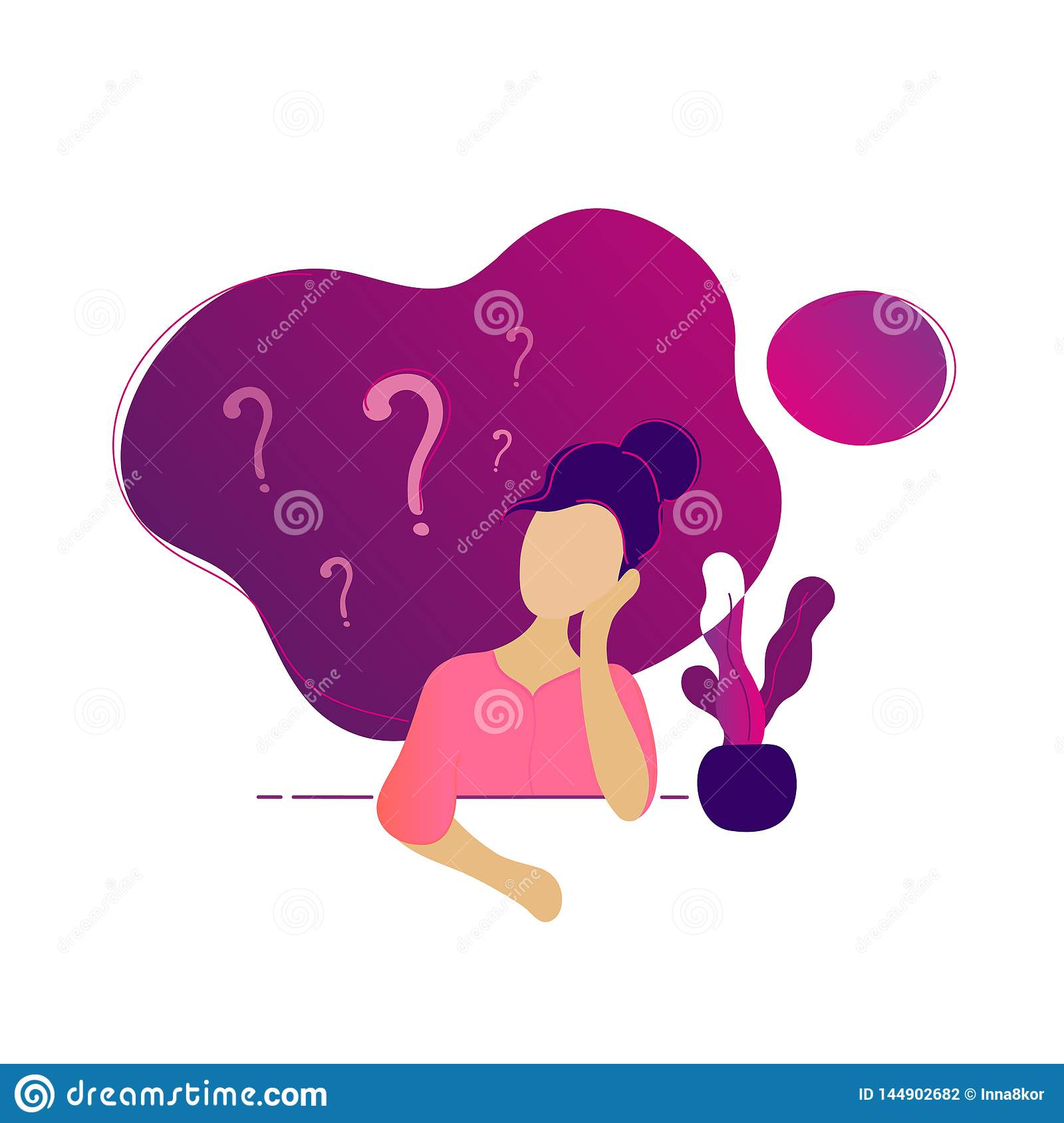 Young beauty woman thinking under question marks