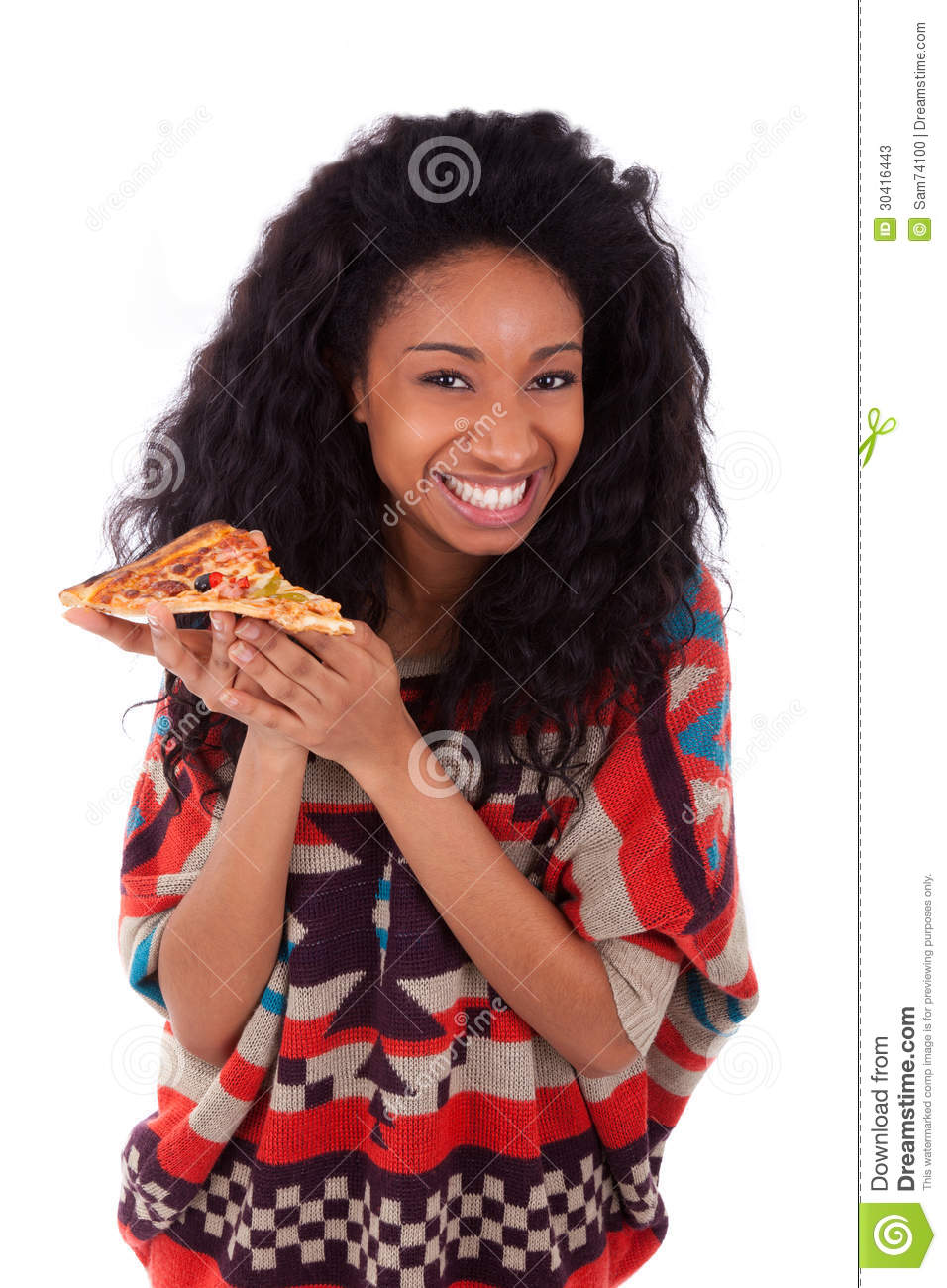 Young Black Teenage Men Playing Video Games: Young Black African American Teenage Girl Eating A Slice
