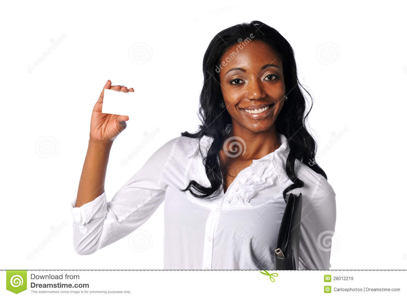 young blakc Young black businesswoman holding a blank card