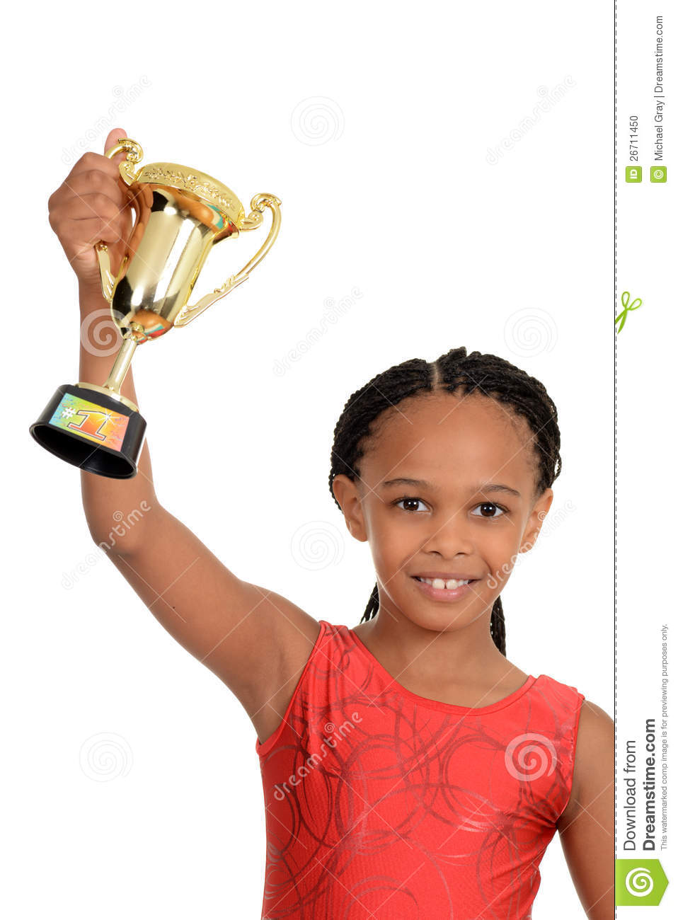 Young Black Teenage Men Playing Video Games: Young Black Child With Gymnastics Trophy Stock Photo