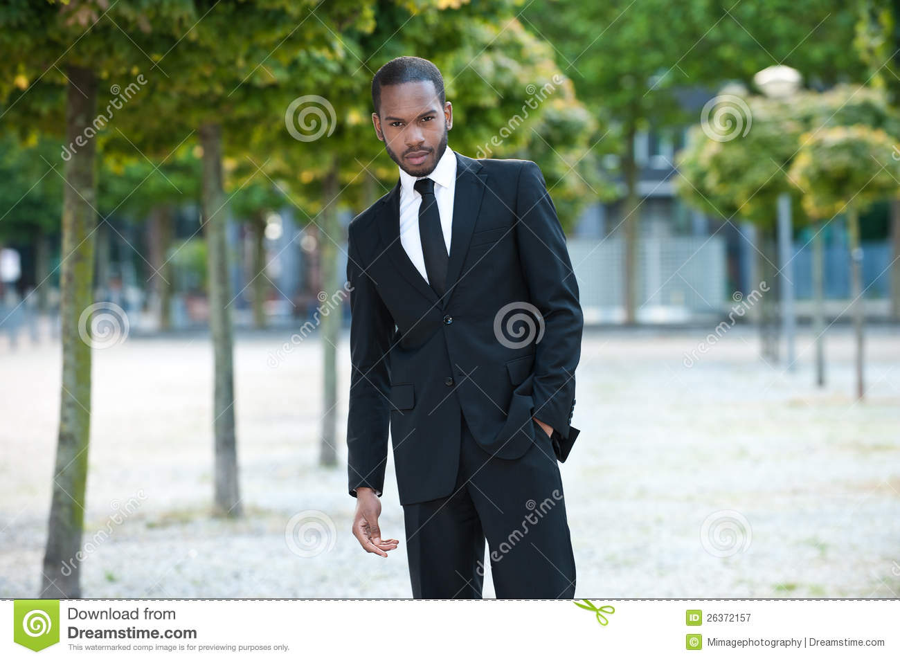 Young Black Male in a Suit Outside