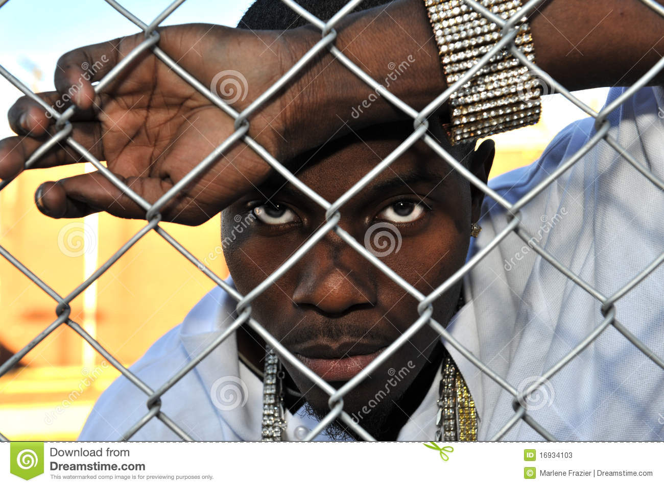 Young Black Man Behind A Fence Stock Photos Image 16934103