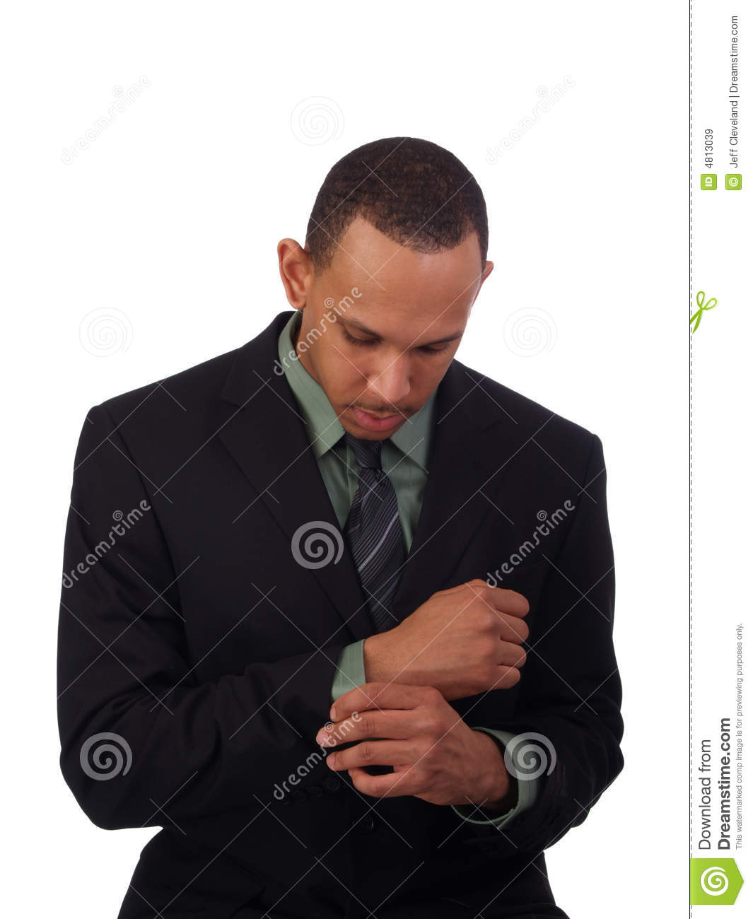Young Black Man In Business Suit Looking Down Stock Image ...