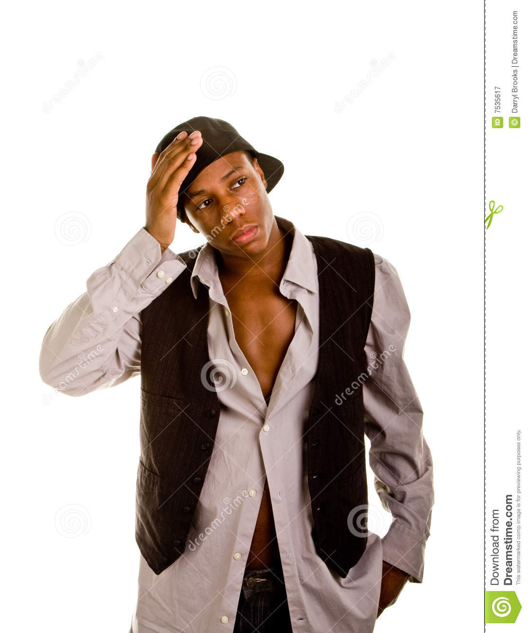 86b6c35c353 Young Black Man Hat Backwards Hand On Head Stock Image - Image of ...