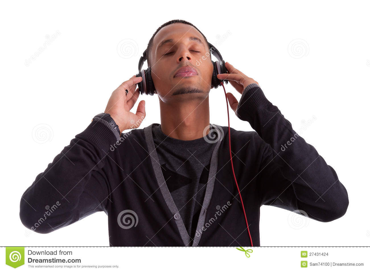 Young Black Man Listening To Music Stock Images - Image ...