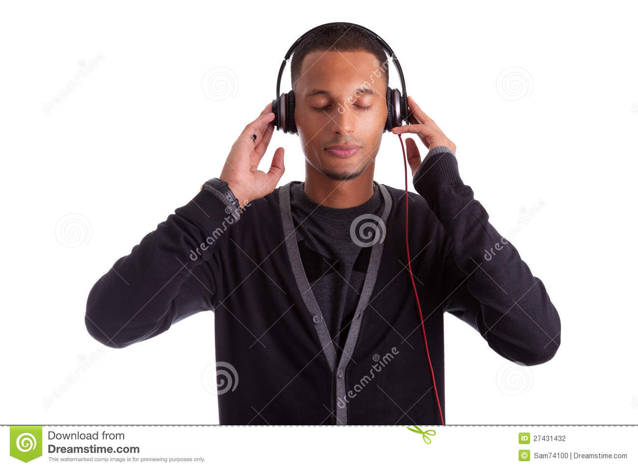 Young Black Man Listening To Music Stock Photography ...