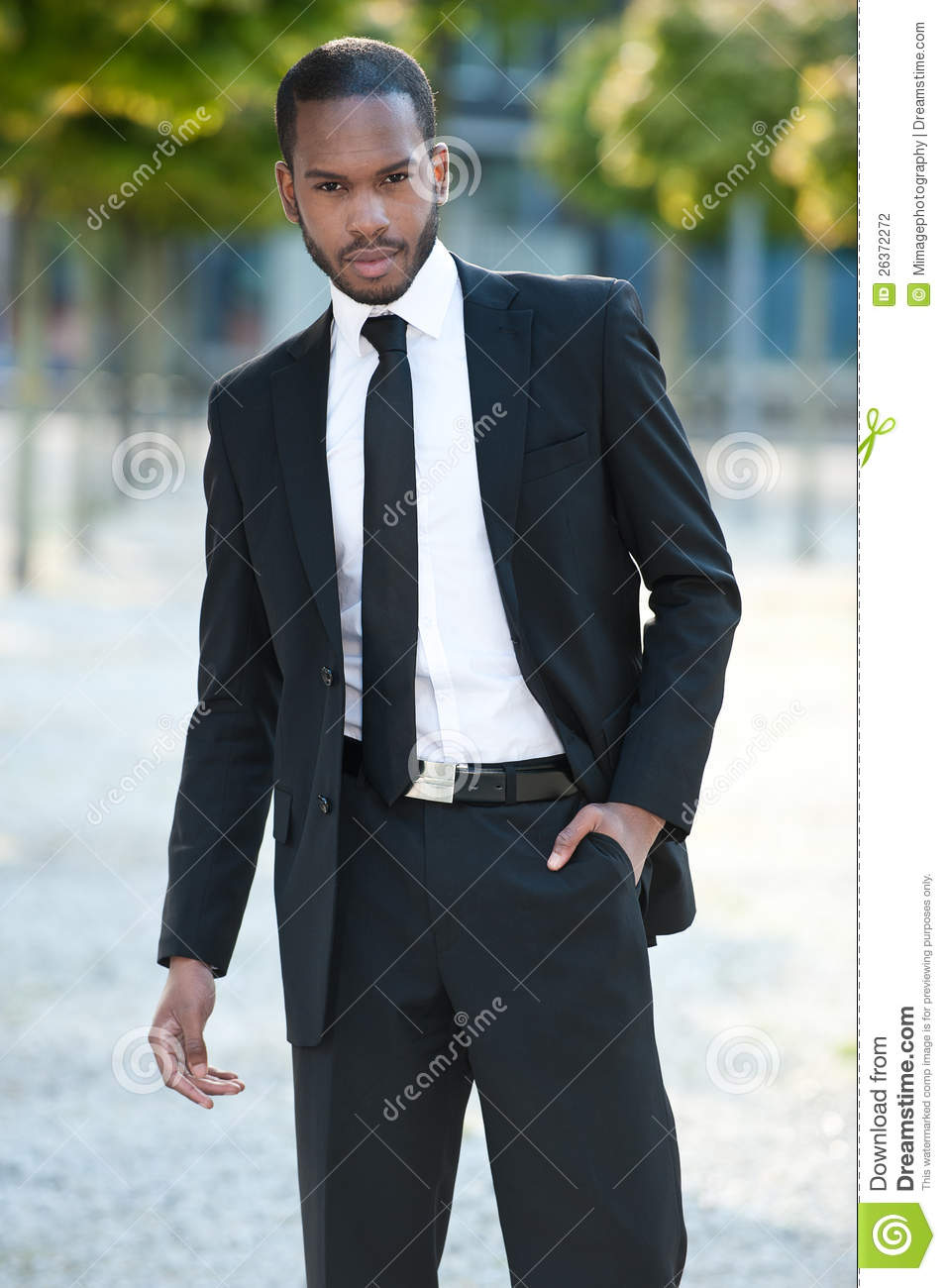 Young Black Man In A Suit Outside Stock Photography ...