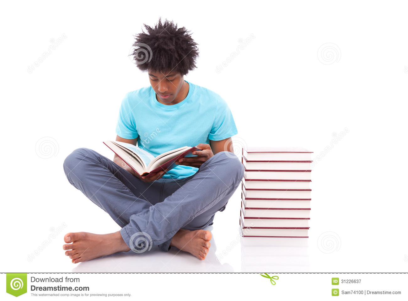 Young Black Teenage Student Men Reading A Books African