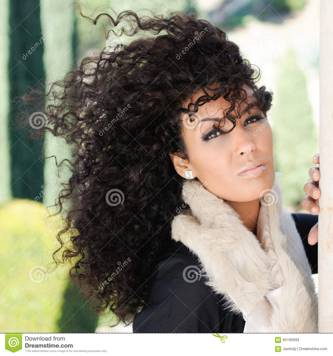 Black Women Urban Styles: Young Black Woman, Afro Hairstyle, In Urban Background