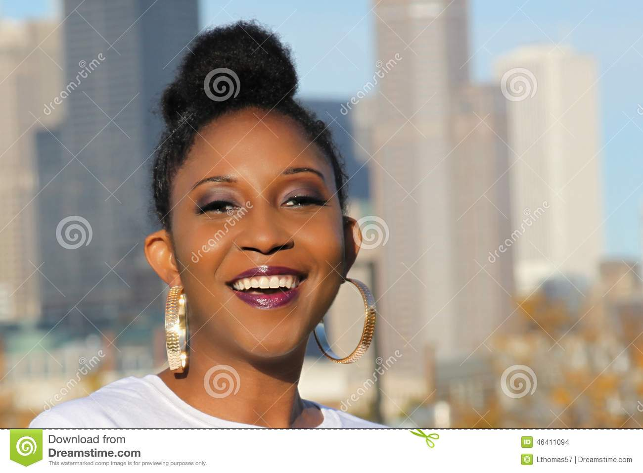 Beautiful smiling young black woman with a big smile an updo hairstyle ... Angry Black Woman Face
