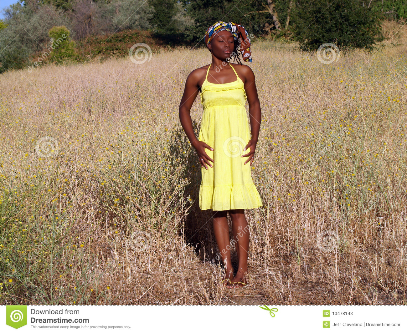 Young Black Woman Outdoors In Yellow Dress Stock Image Image Of