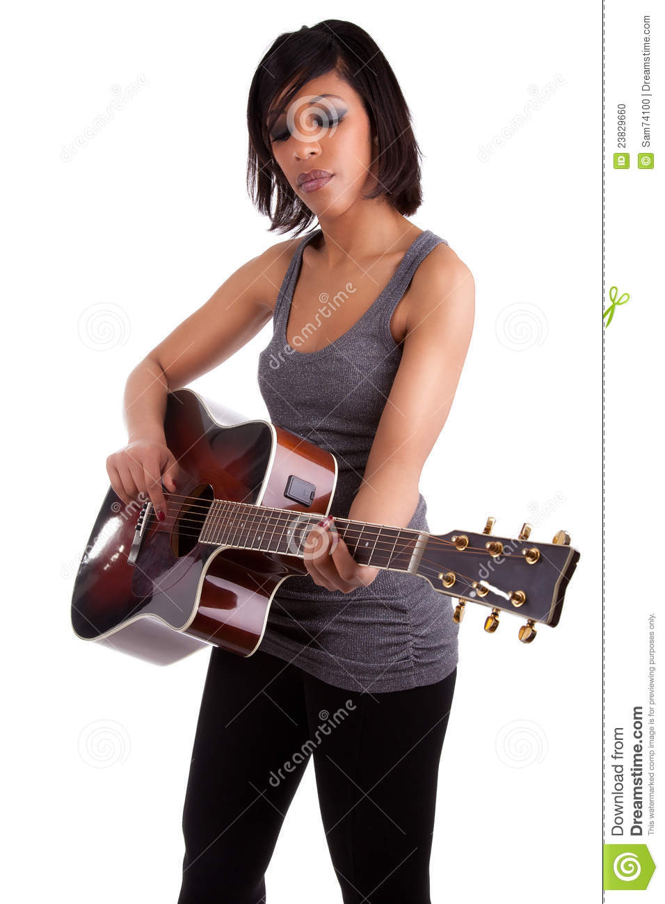 Young Black Teenage Men Playing Video Games: Young Black Woman Playing Guitar Stock Photo