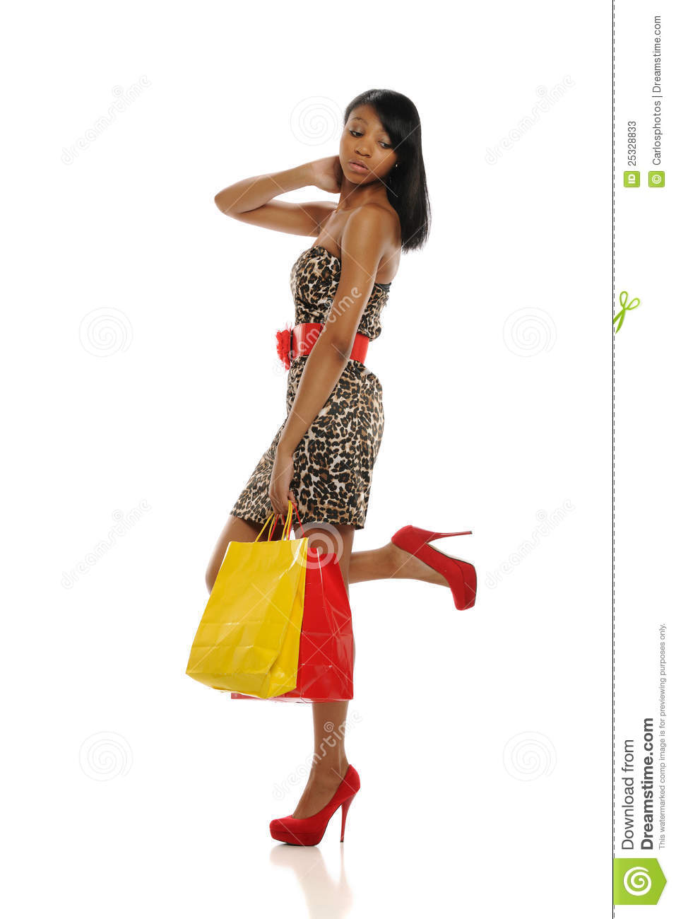 Young Black Woman Shopping Bags African Fashion Dress Images Download