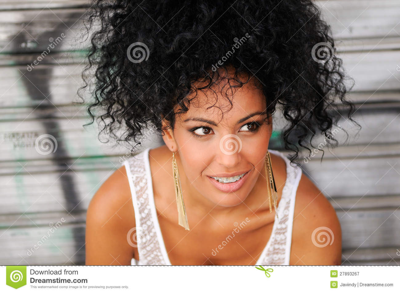 Young Black Woman Smiling With Braces Stock Image Image