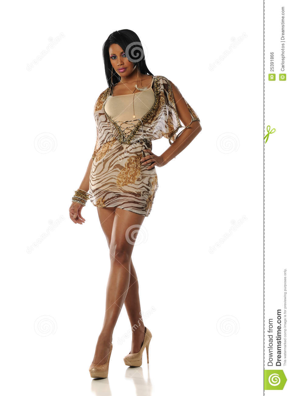 Young Black Woman Wearing A Fancy Dres Stock Photo Image