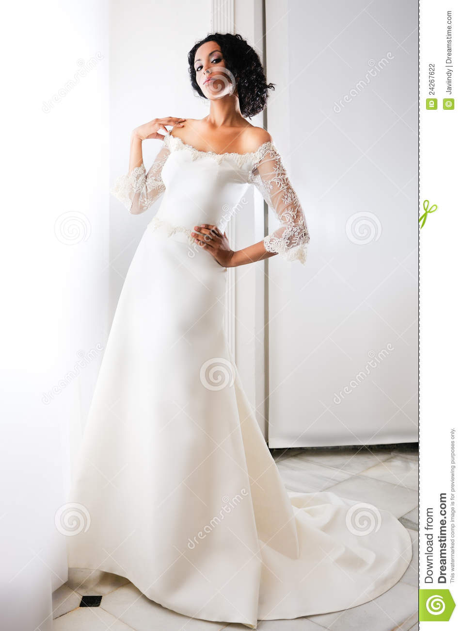 Design stock photo beautiful young african american for Woman in wedding dress
