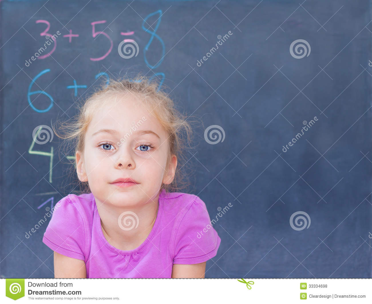 Young Blond Caucasian Girl In Front Of Blackboard Royalty Free Stock Photos Image 33334698