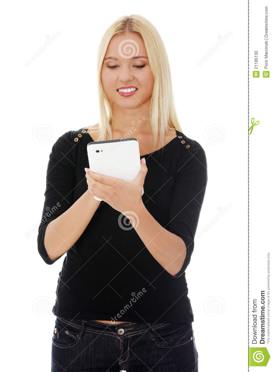 Young blond caucasian woman using tablet computer