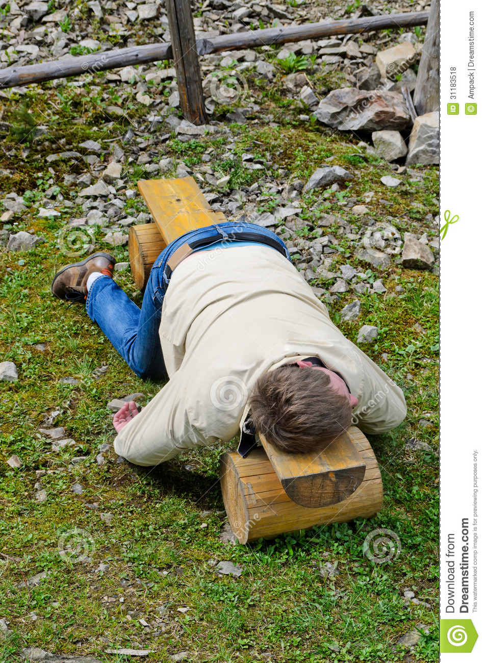 Young Blond Man Deeply Sleeping On Stock Photo Image Of