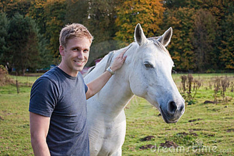 young blond man  white horse stock photography image