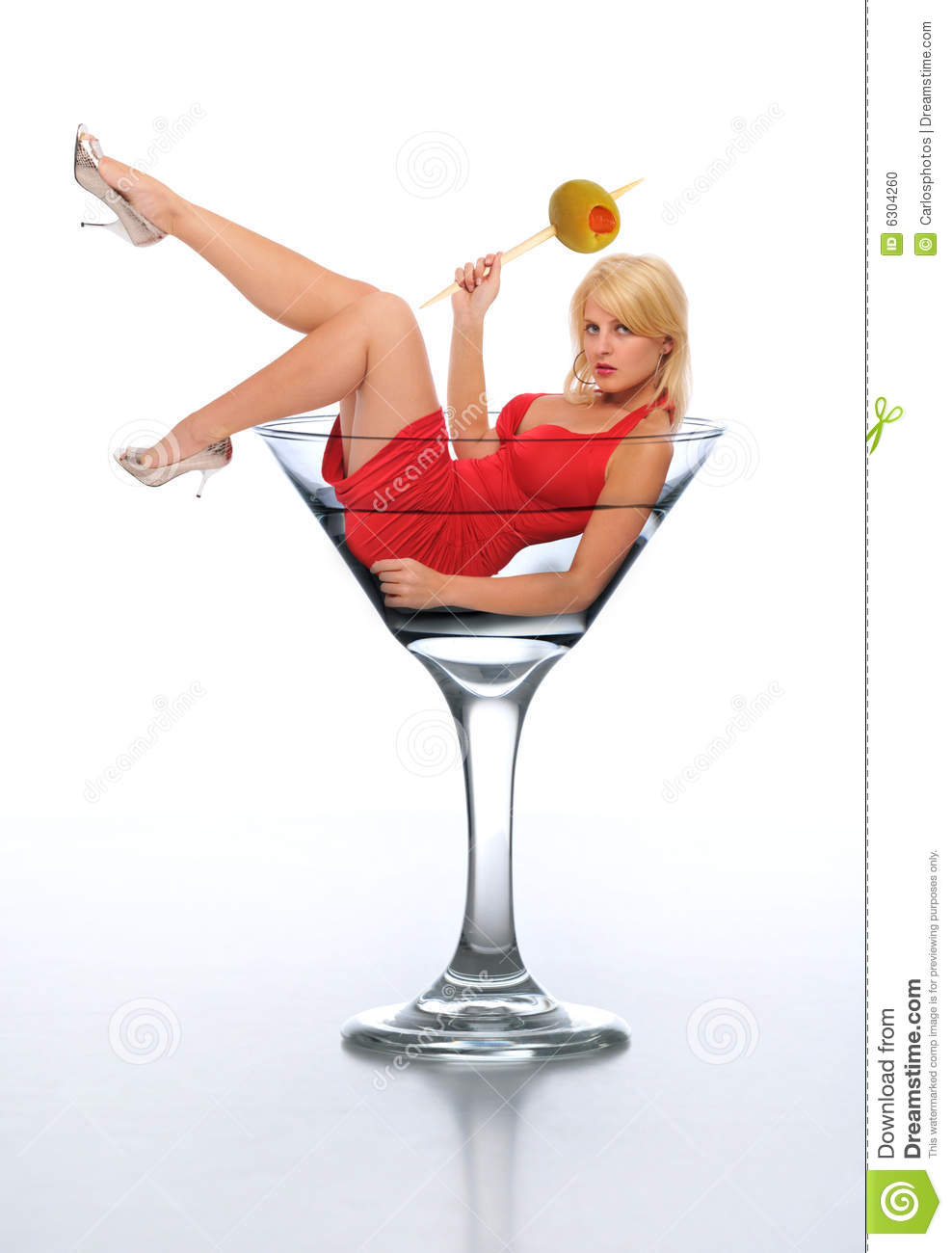 Young blond in a martini glass