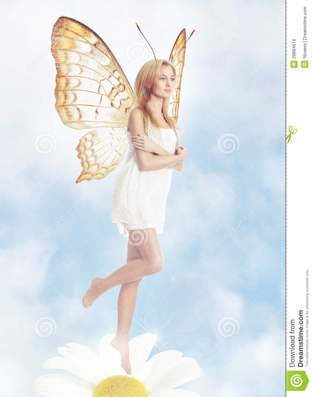 Young blond woman as butterfly
