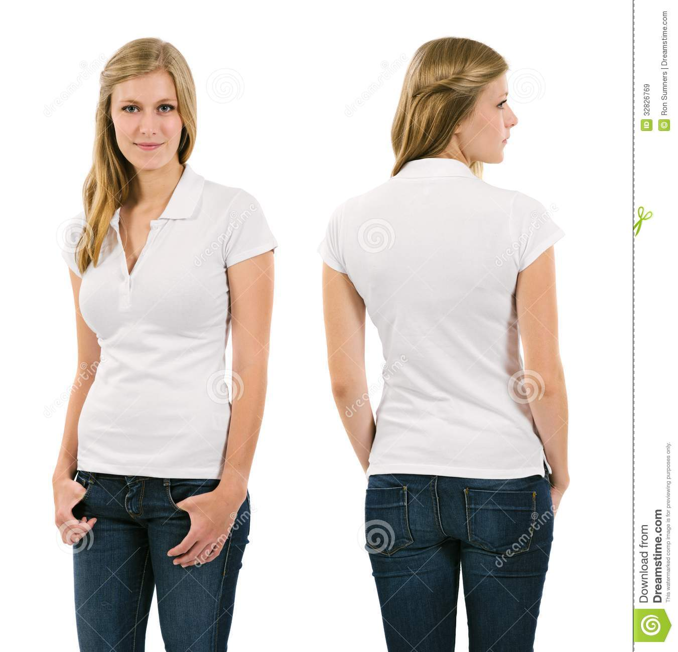 Young Blond Woman With Blank White Polo Shirt Stock Image