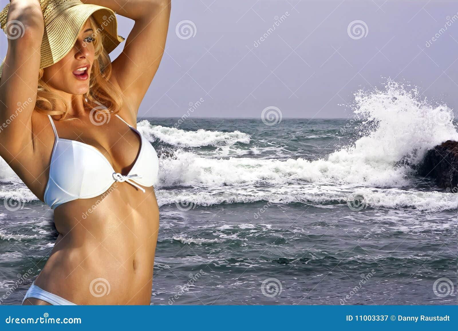 Young blonde bikini at Big Sur, Caifornia, USA