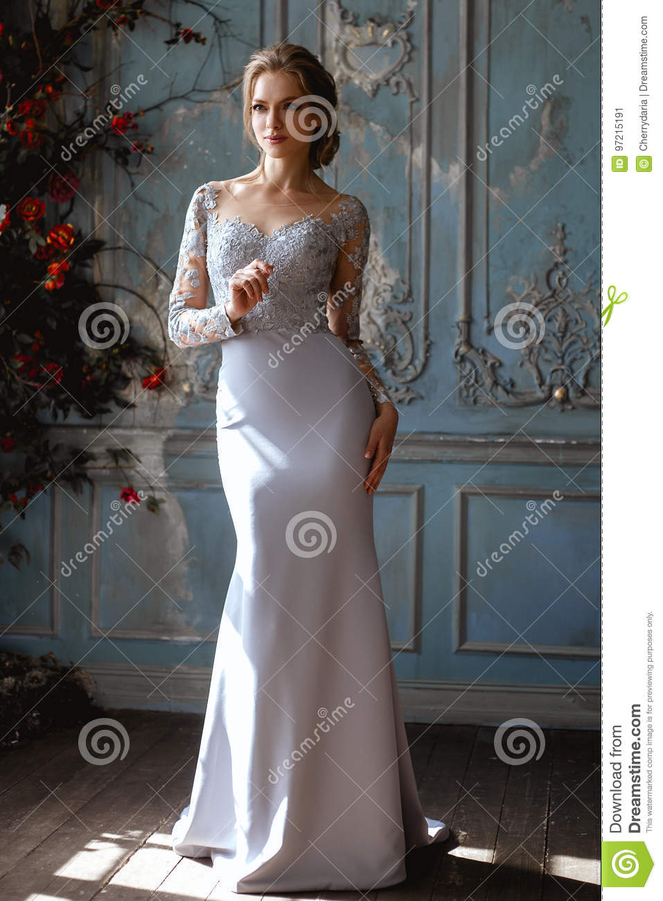 Young Blonde Bride Woman In A Light Blue Wedding Dress Stock Image
