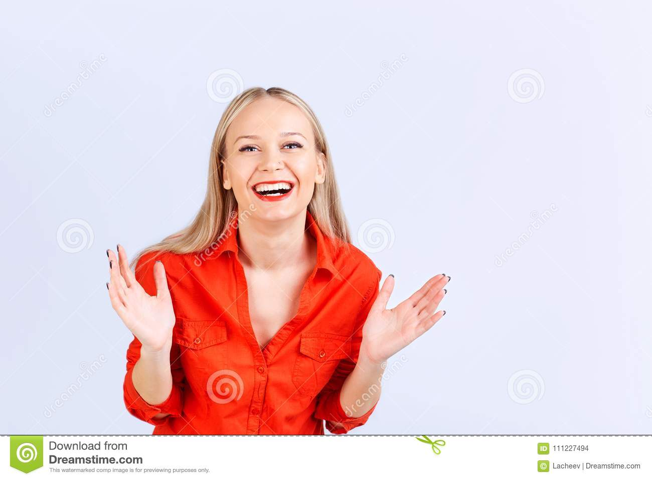 Young Blonde Woman In Casual Clothing Laughing With Positive ...