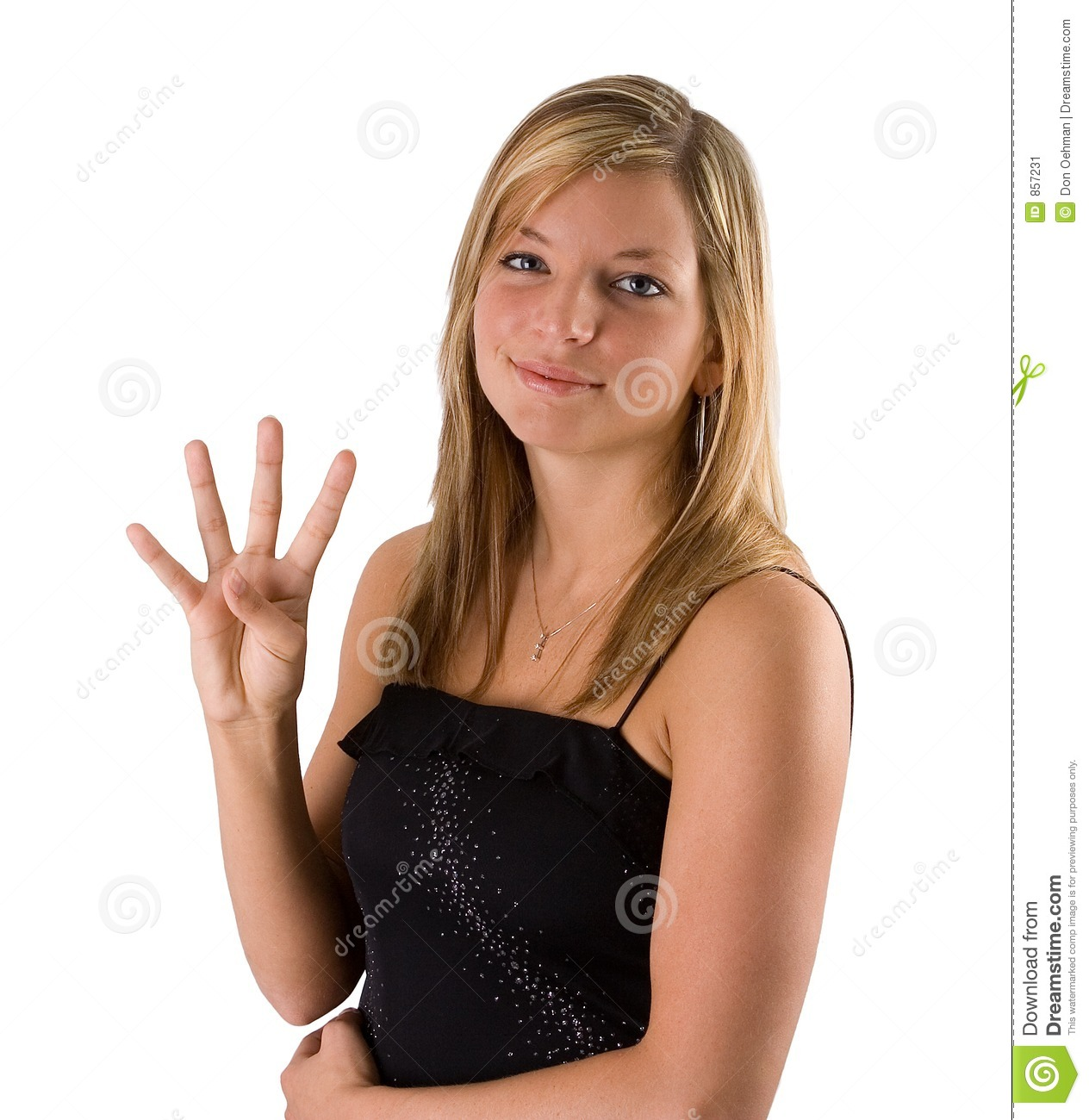 Young Blonde Woman Holding Four Fingers Stock Image ...