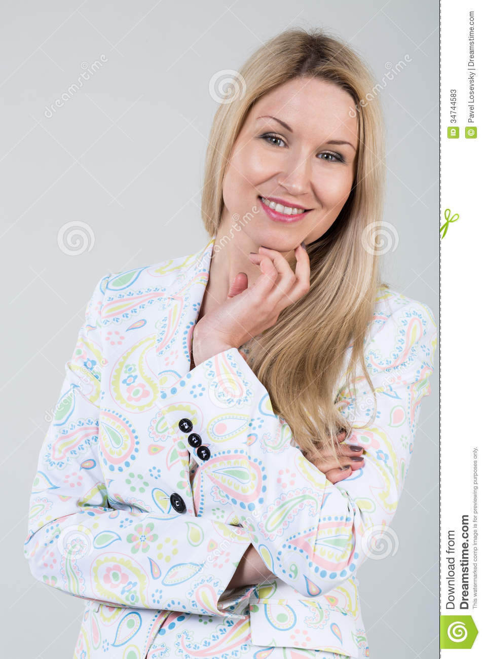 young blonde woman in a white jacket