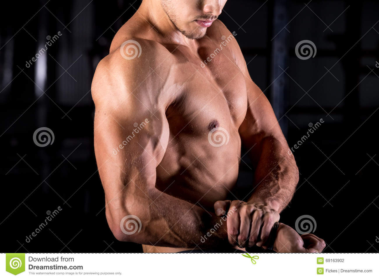 Young Bodybuilder With Muscular Arms Stock Photo Image Of