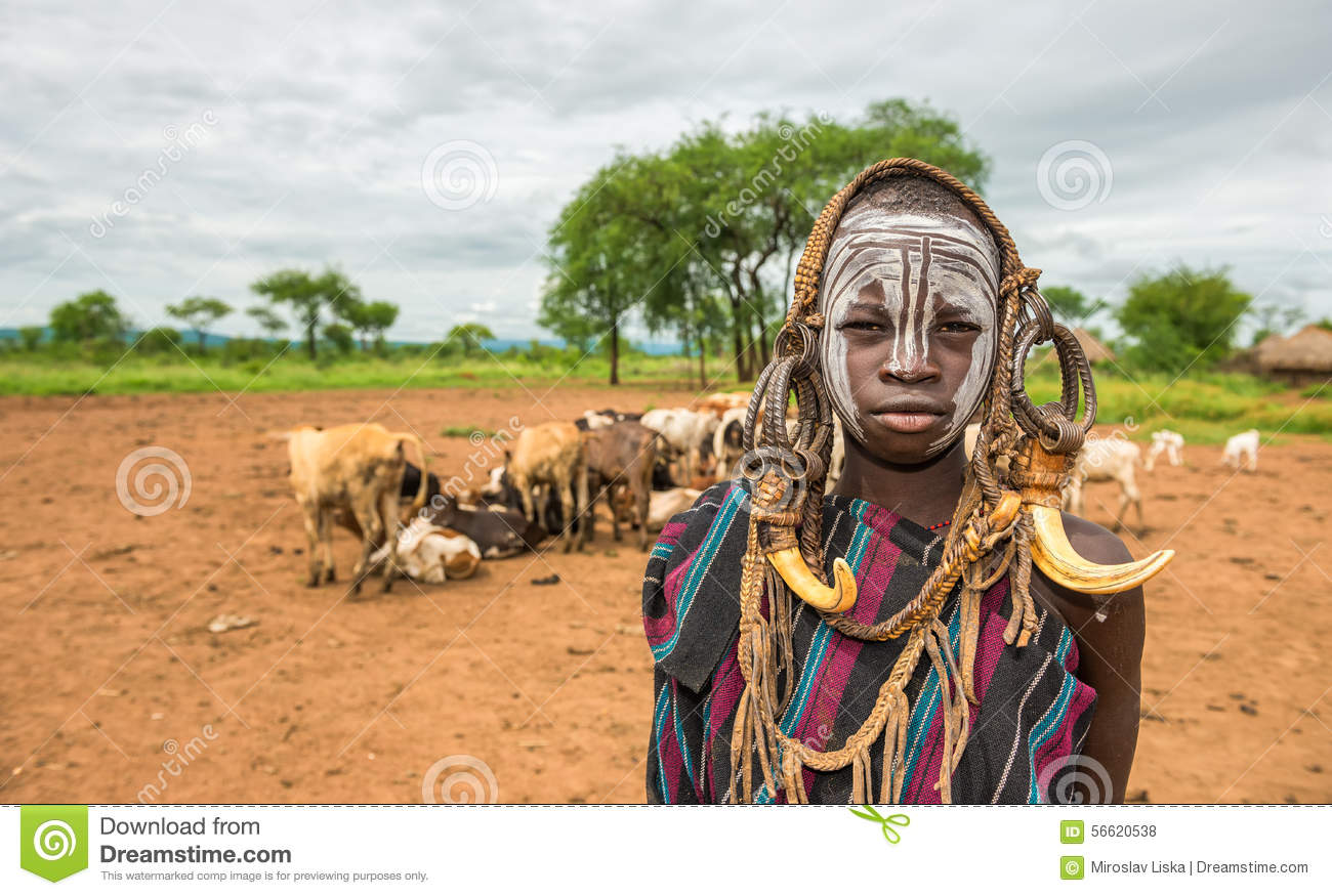 mursi Boy Young boy from the African tribe Mursi, Ethiopia Royalty Free Stock Photos