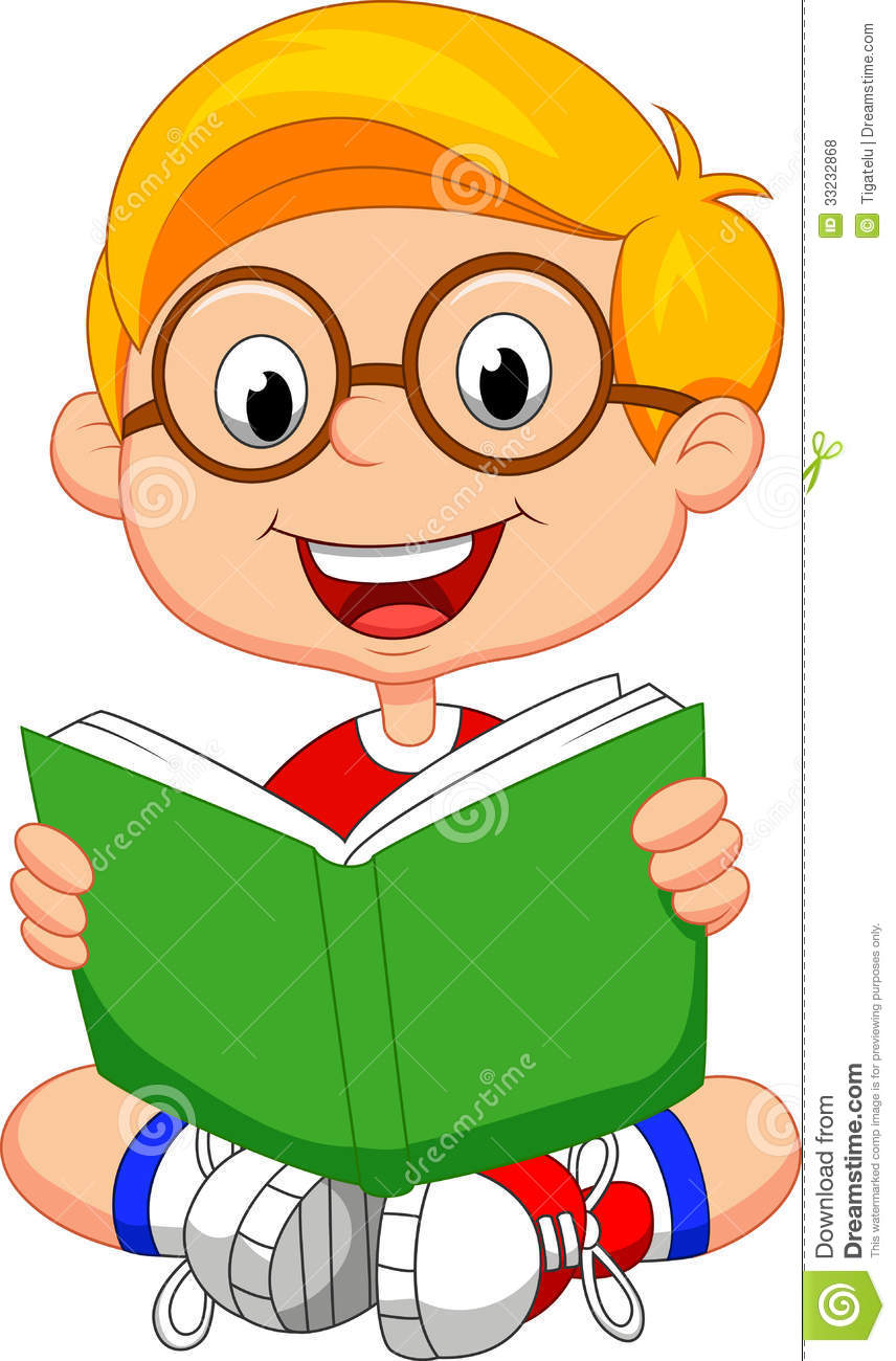 Young Boy Cartoon Reading Book Royalty Free Stock Photos - Image ...