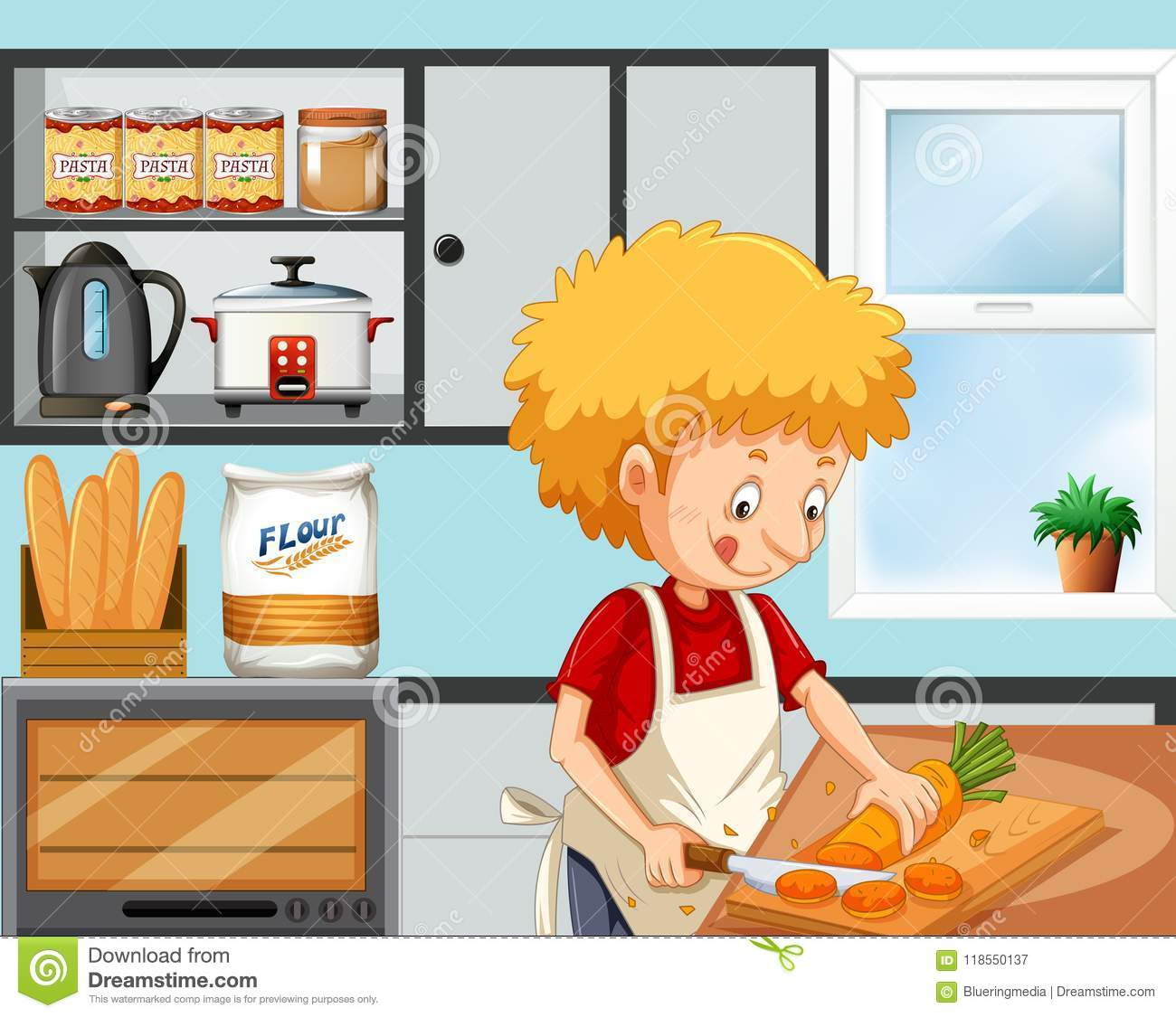 Young Boy Cooking In The Kitchen Stock Vector Illustration Of Snack Graphic 118550137