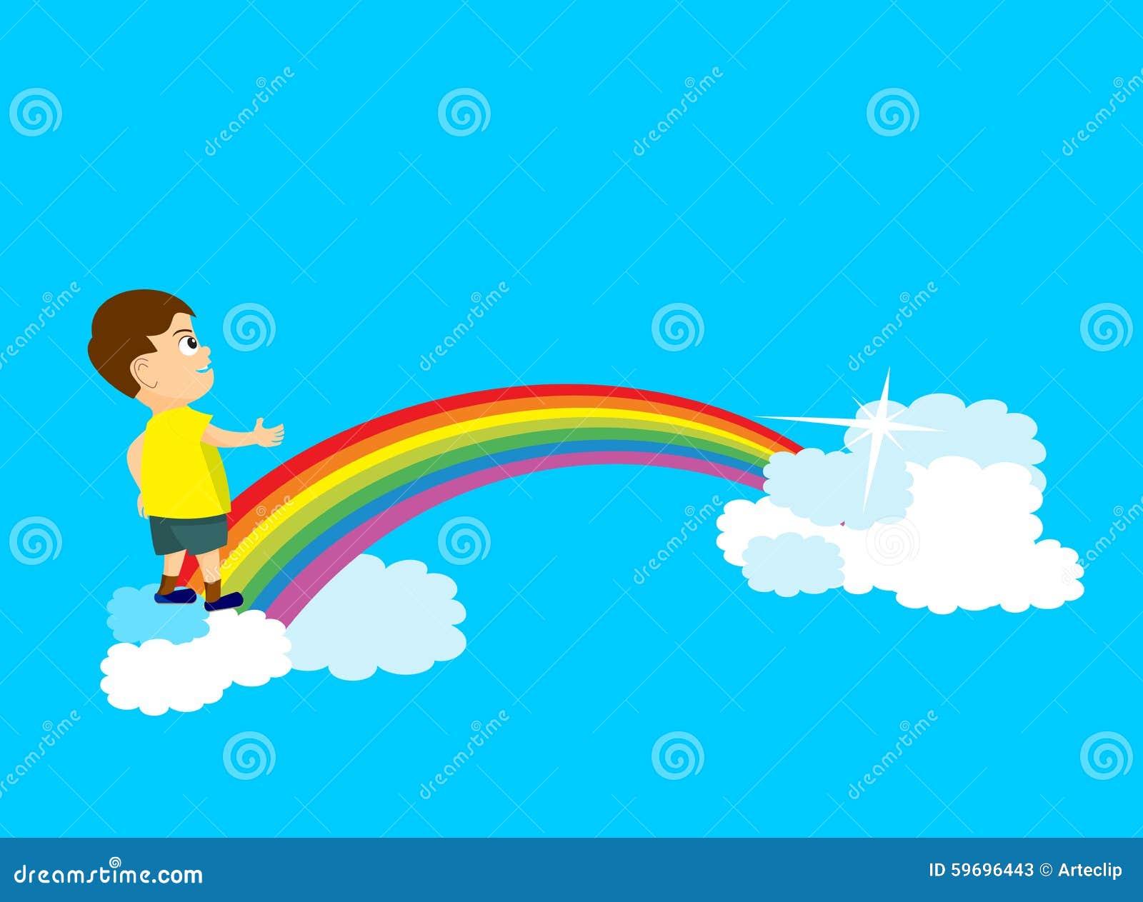 Young boy cross rainbow bridge