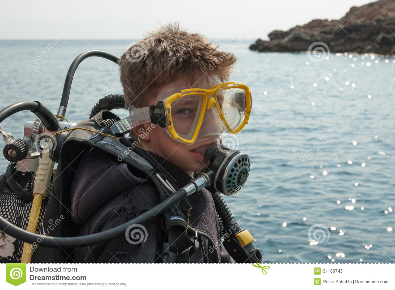 young boy in diving suit stock image image of sporty. Black Bedroom Furniture Sets. Home Design Ideas