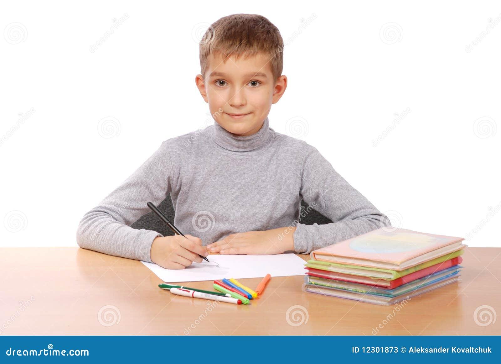 Young Boy Doing School Work Stock Photos - Image: 12301873