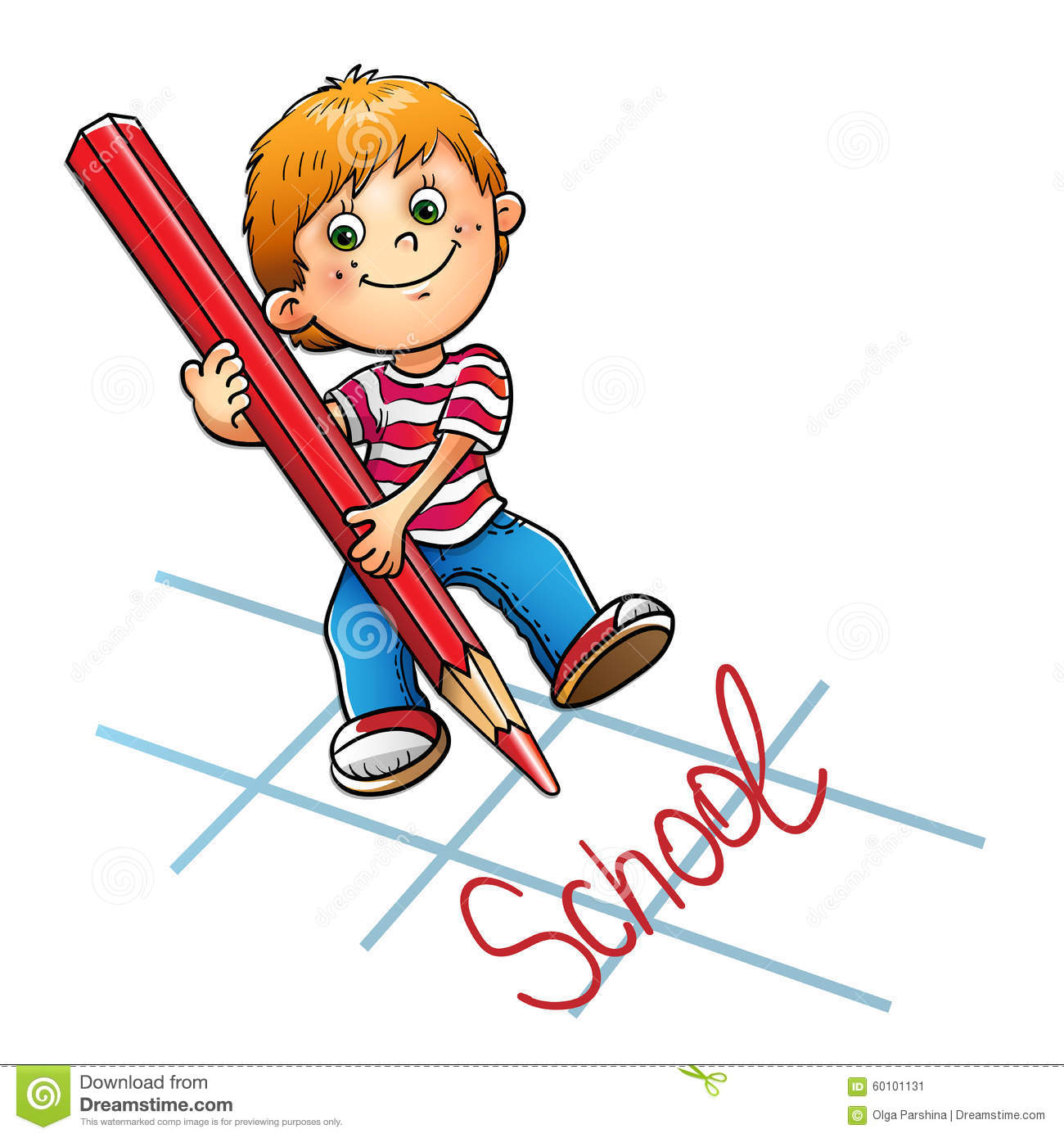 Young Boy Drawing The Word In Red Pencil Stock Vector Illustration