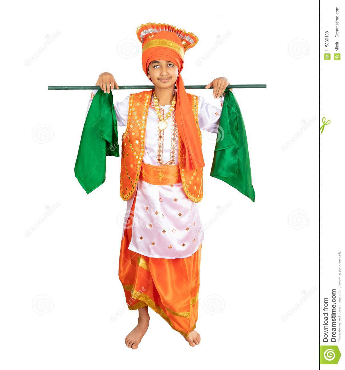 c99751c52 Young Boy Dressed in a Traditional North Indian Bhangra Dance Costume