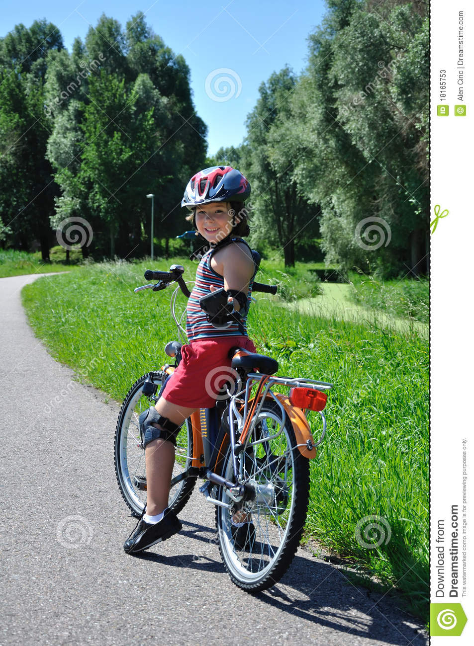 Young Boy Drive Bicycle Royalty-Free Stock Photo ...