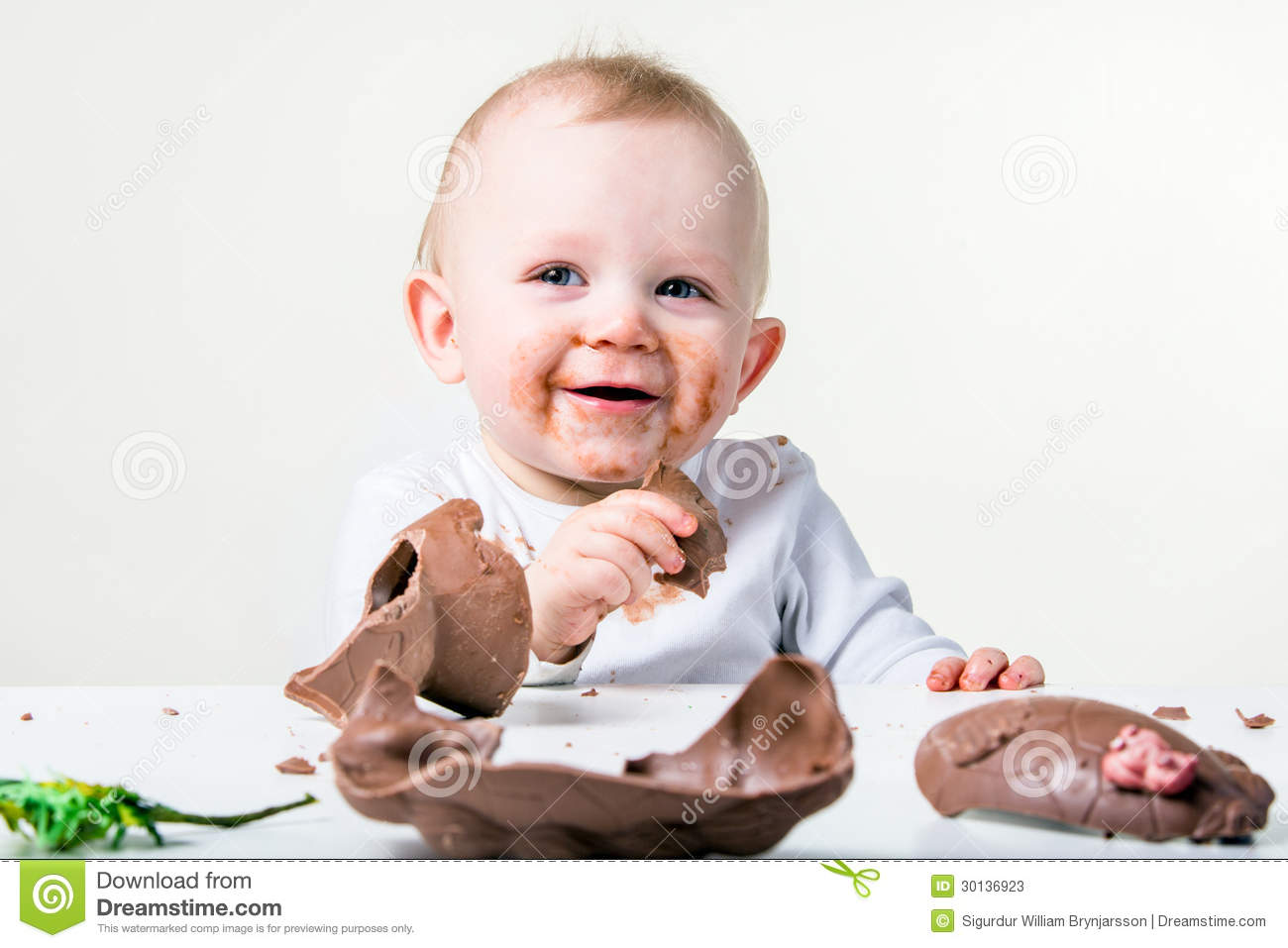 A boy eating chocolate