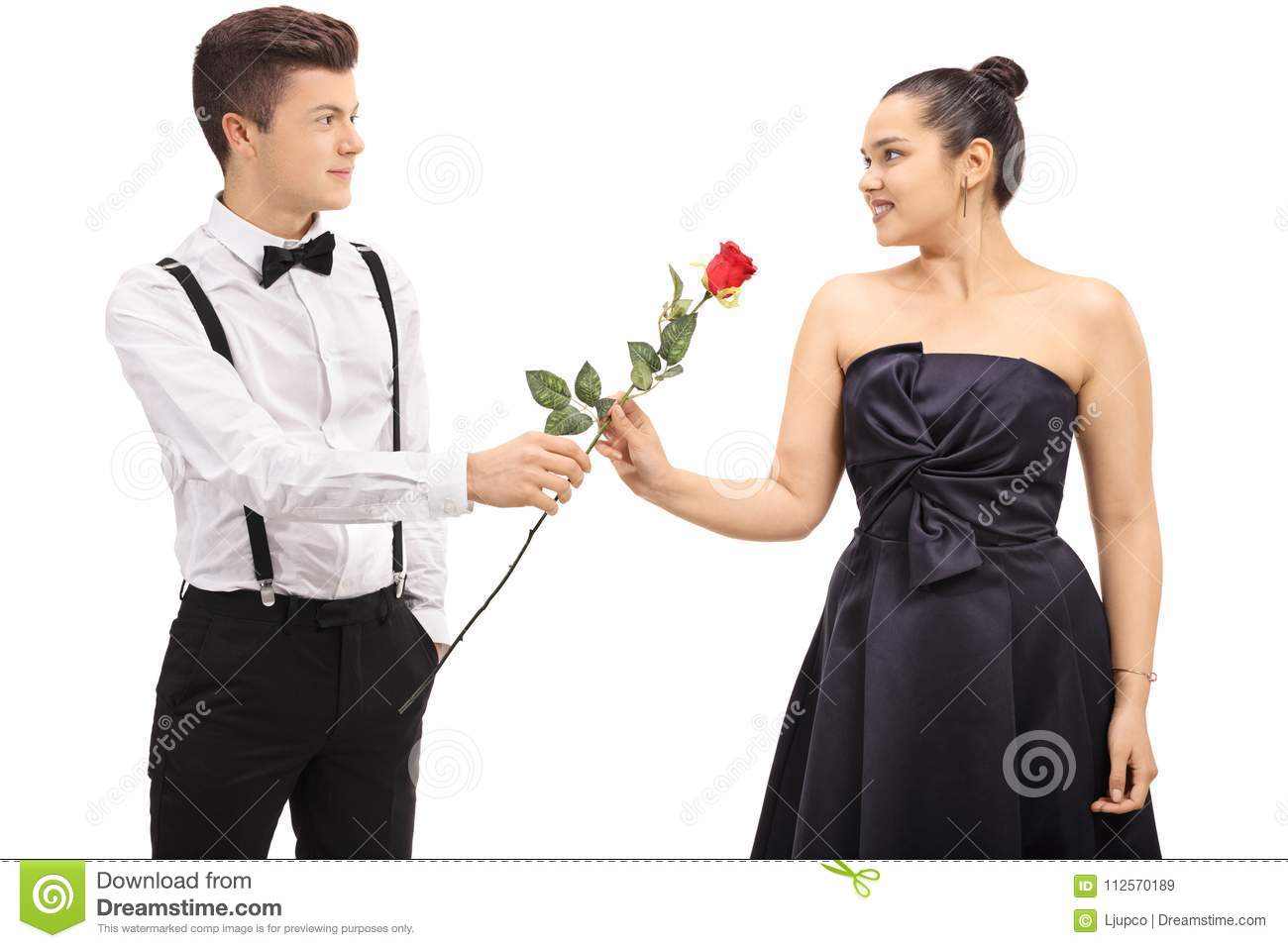 Boy giving rose to girl stock images download 172 - Boy propose girl with rose image ...
