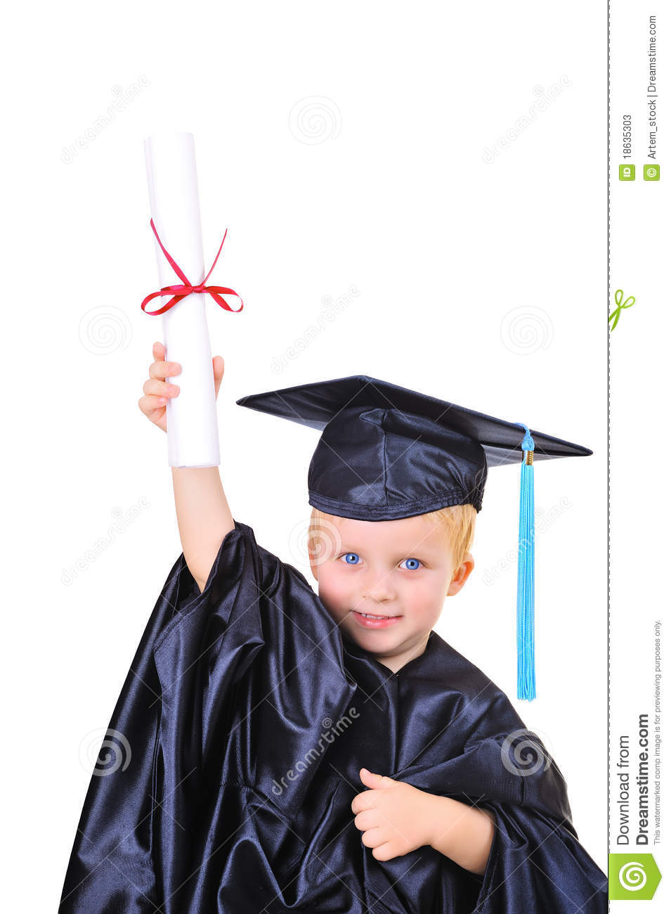 Young Boy In Graduation Dress Stock Image - Image 18635303