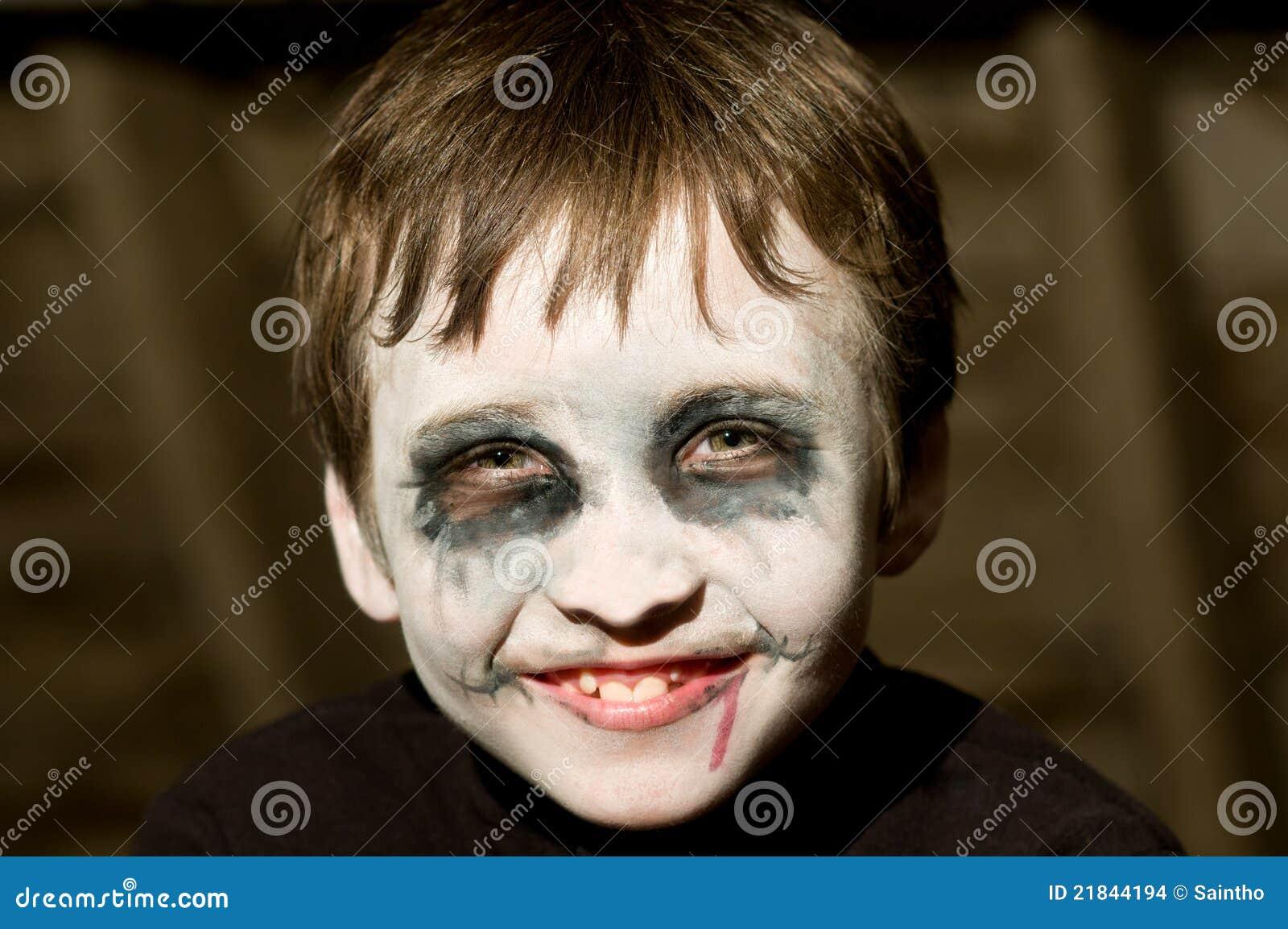 Young Boy With Halloween Makeup Stock Images  Image: 21844194 - Boys Halloween Makeup