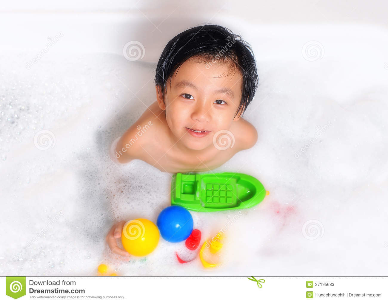 Young Boy Having Bubble Bath With Toys Stock Image - Image of ...